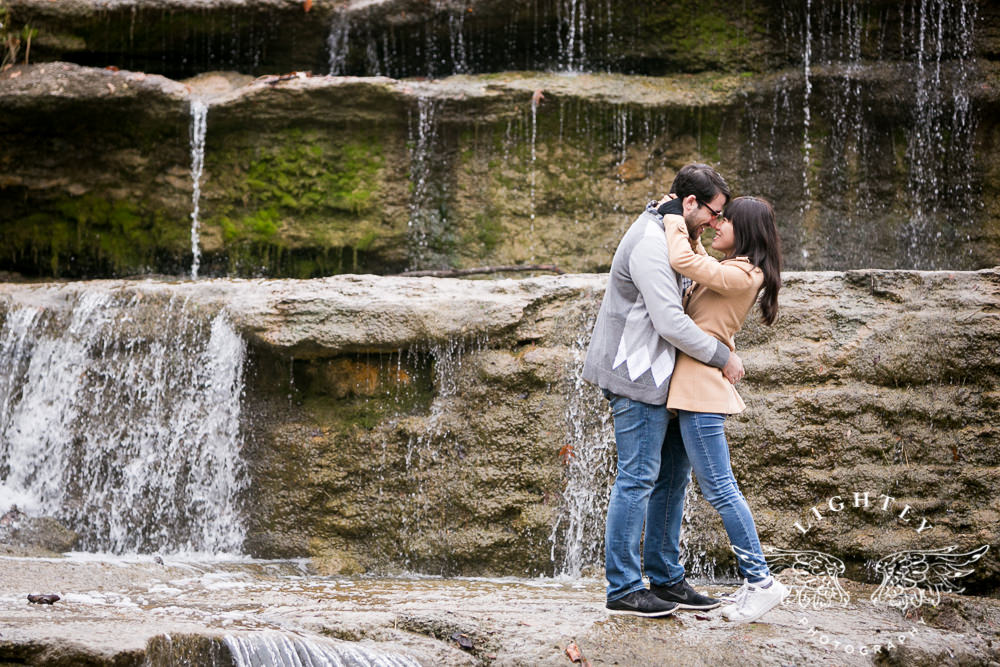 Wendy aaron engagement session at airfield waterfall - Fort worth water gardens wedding ...